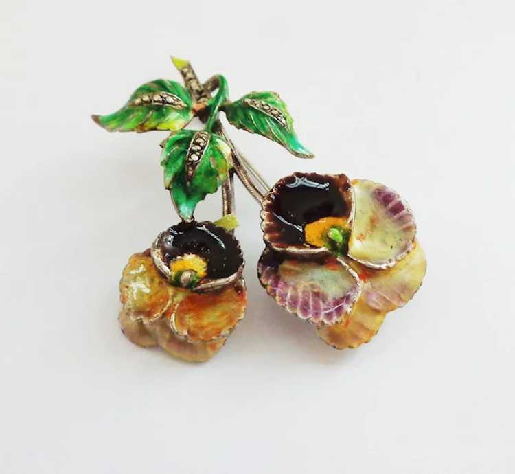 Enamel Pansy on Sterling Silver Brooch Pin - Germ… - image 5