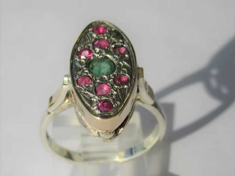 Emerald and Ruby Sterling Silver Ring - image 2