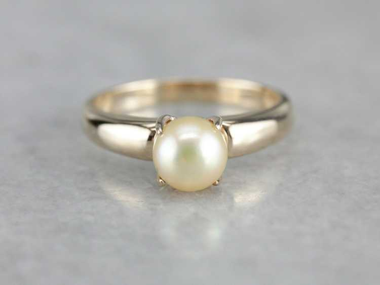 Classic Pearl Solitaire Gold Ring - image 1