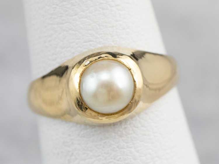 Bezel Set Pearl Gold Solitaire Ring - image 7