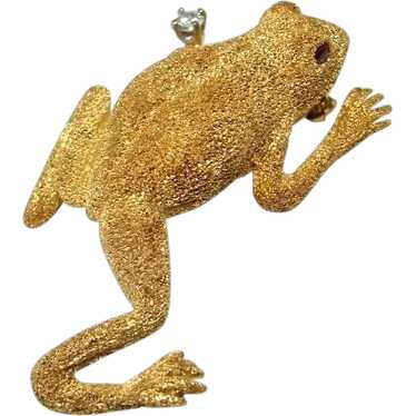 Diamond Frog Pin Brooch 18K Gold Artisan Animal Pi