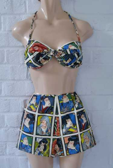 Vintage 40s Cabana Bikini/Swimsuit with japanese c