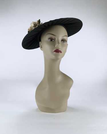1940s/50s Black Platter Hat with Flowers