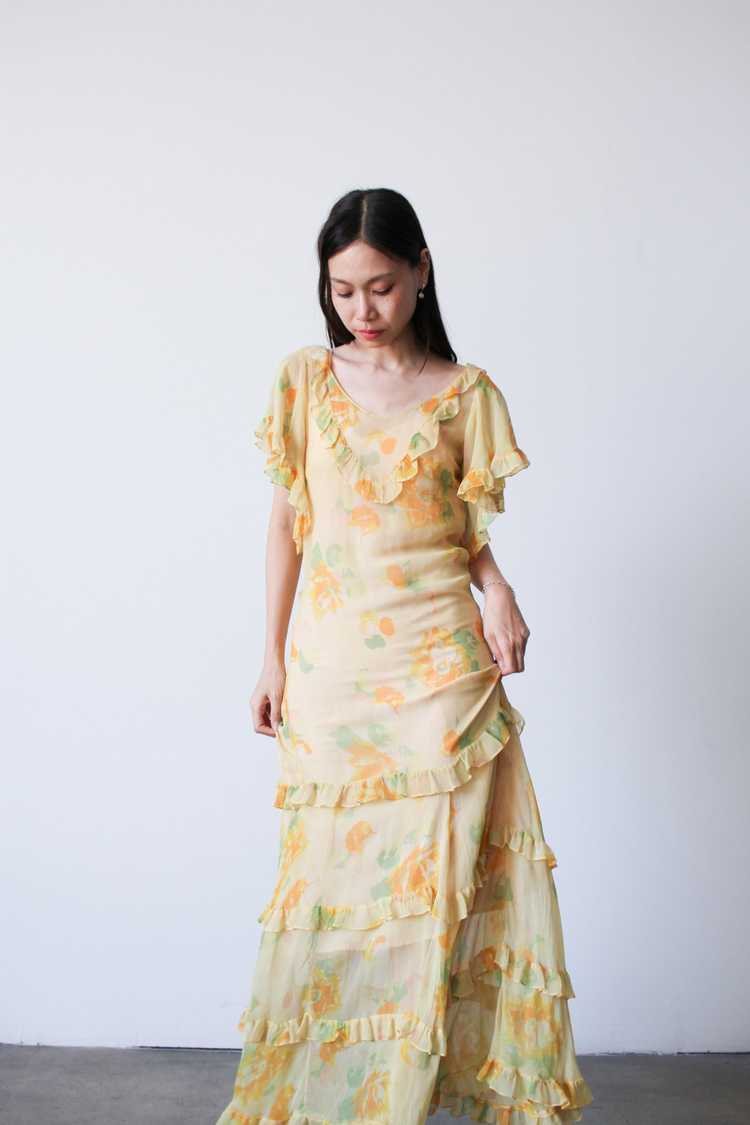 1930s Chiffon Silk Yellow Floral Dress w/ Bolero - image 6