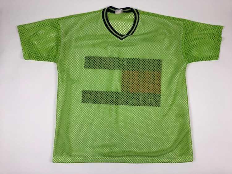 Vintage Tommy Hilfiger Flag Mesh Jersey Green Shi… - image 2
