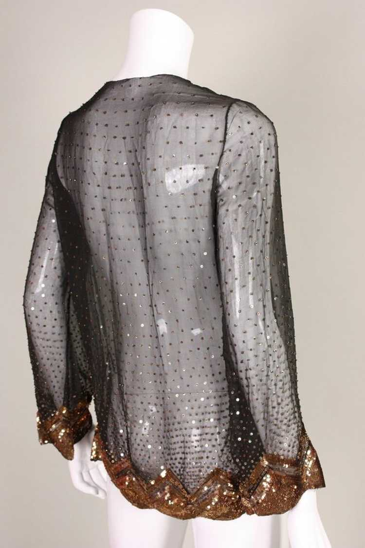 1930's Jacket Sequined Silk Chiffon Vintage - image 4