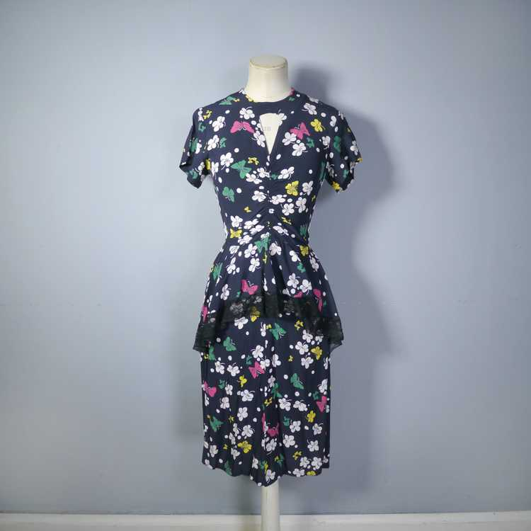 40s BUTTERFLY PRINT RAYON DRESS WITH PEPLUM AND K… - image 4