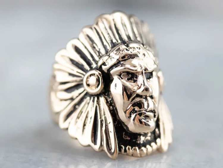 Native American Chief Statement Ring - image 4