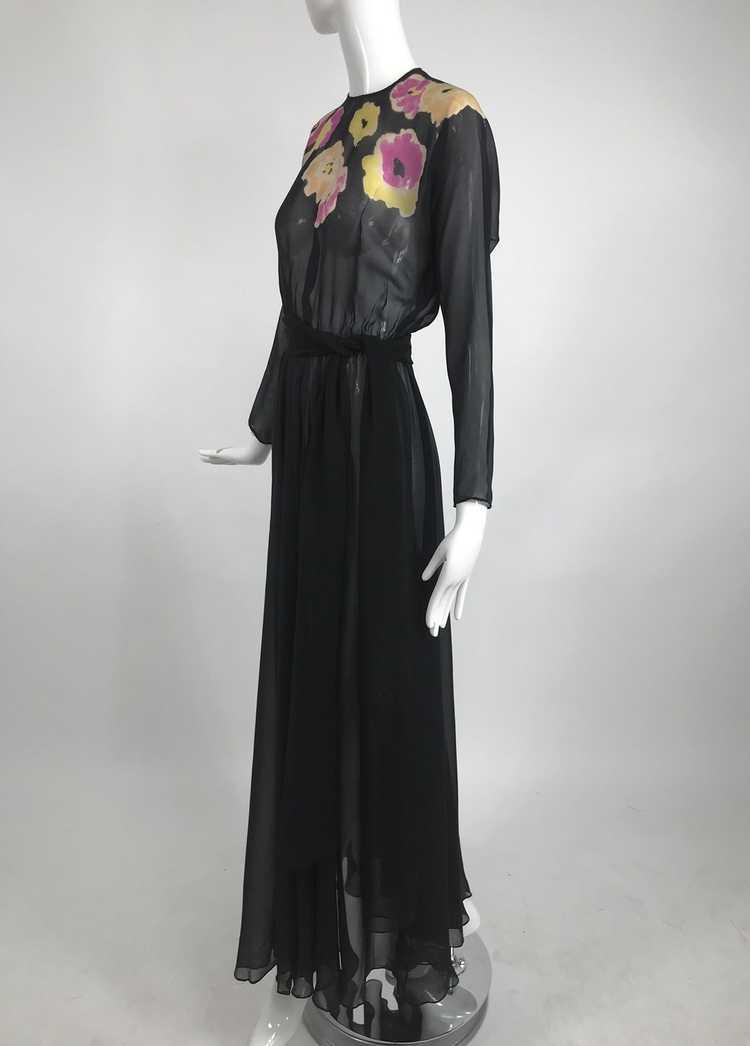 Vintage 1930s Floral Print Bias Cut Black Silk Ch… - image 2