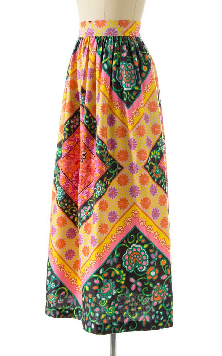 NEW ARRIVAL || 1960s Floral Geometric Maxi Skirt … - image 3
