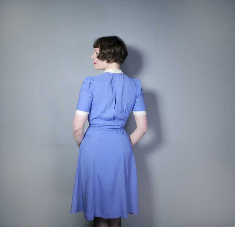 40s NURSE / ALICE style BLUE WHITE COLLARED SHIRT… - image 4