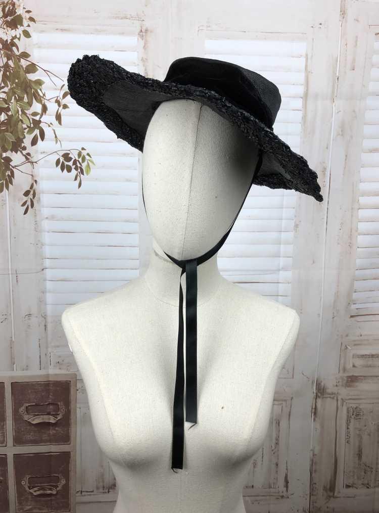 Original 1930s 30s Black Straw And Velvet Wide Br… - image 1