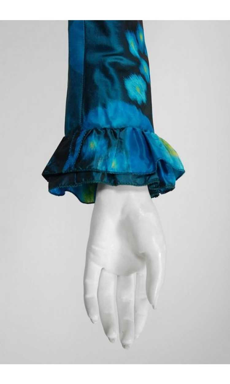 1966 Arnold Scaasi Couture Watercolor Blue Floral… - image 4
