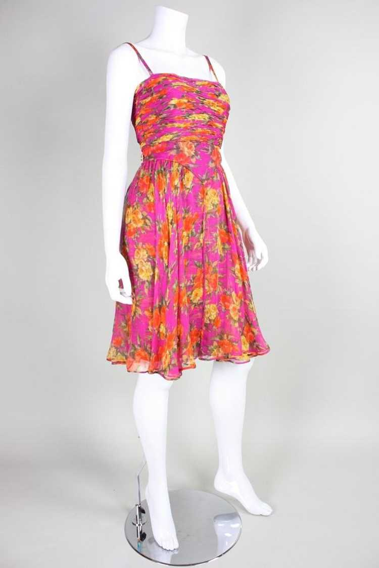 Valentino Cocktail Dress 1990's Floral Printed Si… - image 4