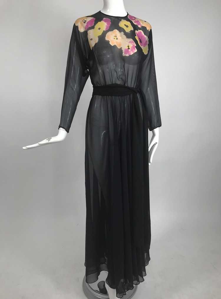 Vintage 1930s Floral Print Bias Cut Black Silk Ch… - image 11