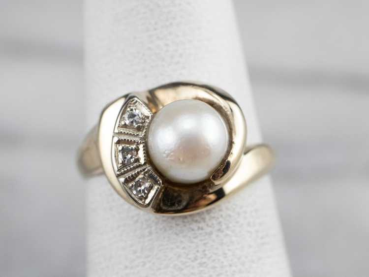 Vintage Pearl and Diamond Ring - image 7