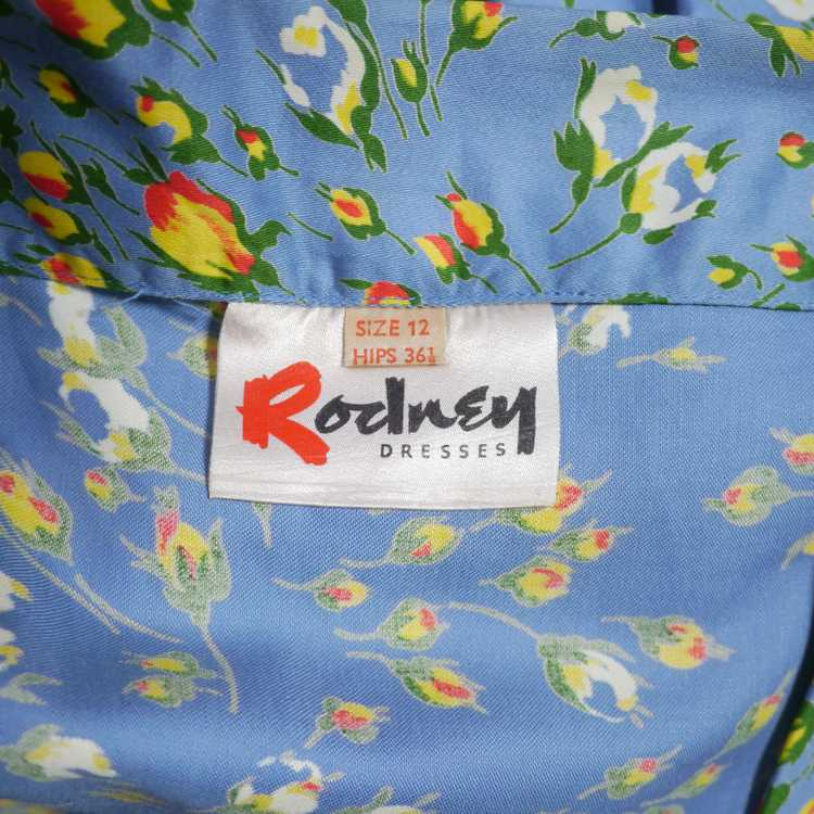 50s BLUE FULL SKIRTED DRESS BY RODNEY IN RED AND … - image 14