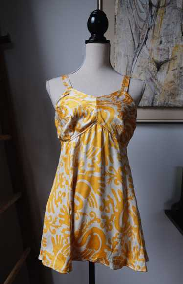 1940s Yellow and White Satin Dragon Print Swimsuit