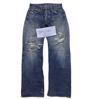 90s FULL COUNT leather front pocket distressed denim japanese brand designer streetwear size 34