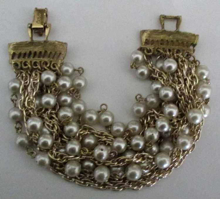 Vintage Signed Coro 10 Stand Faux Pearl and Chain… - image 3
