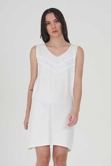 Vintage 70's White Cotton Mini Dress - image 1