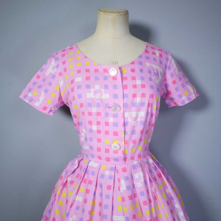 """50s 60s """"BANNER"""" PINK COTTON DAY DRESS WITH PASTE… - image 7"""
