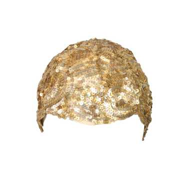 1930's Skull Cap Encrusted with Gold Sequins Vinta