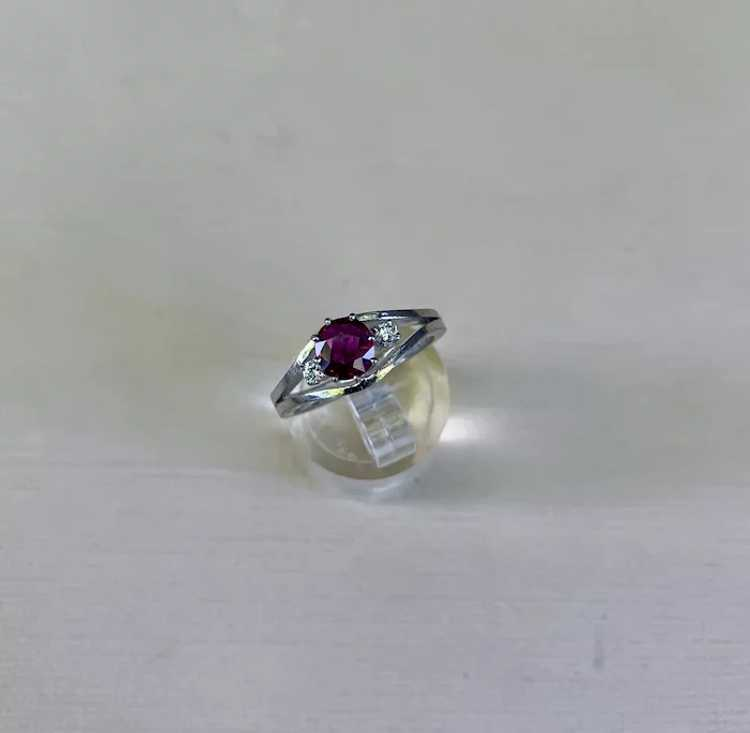 18k Gold Ruby Diamond Solitaire Ring - image 3