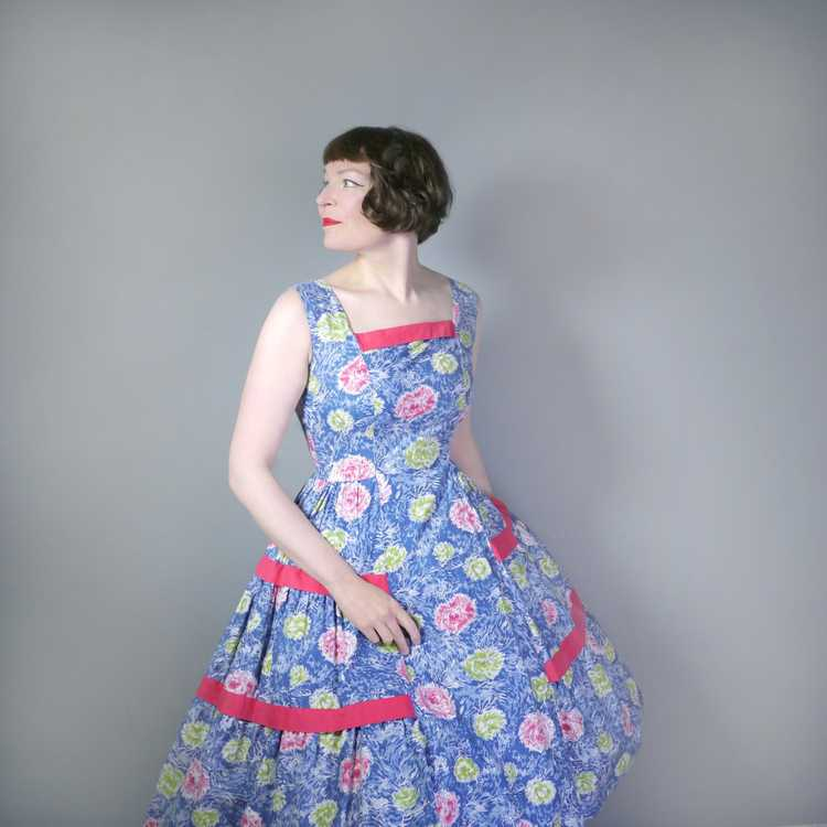 50s FEATHERY FLORAL BLUE COTTON DRESS WITH TIERED… - image 2
