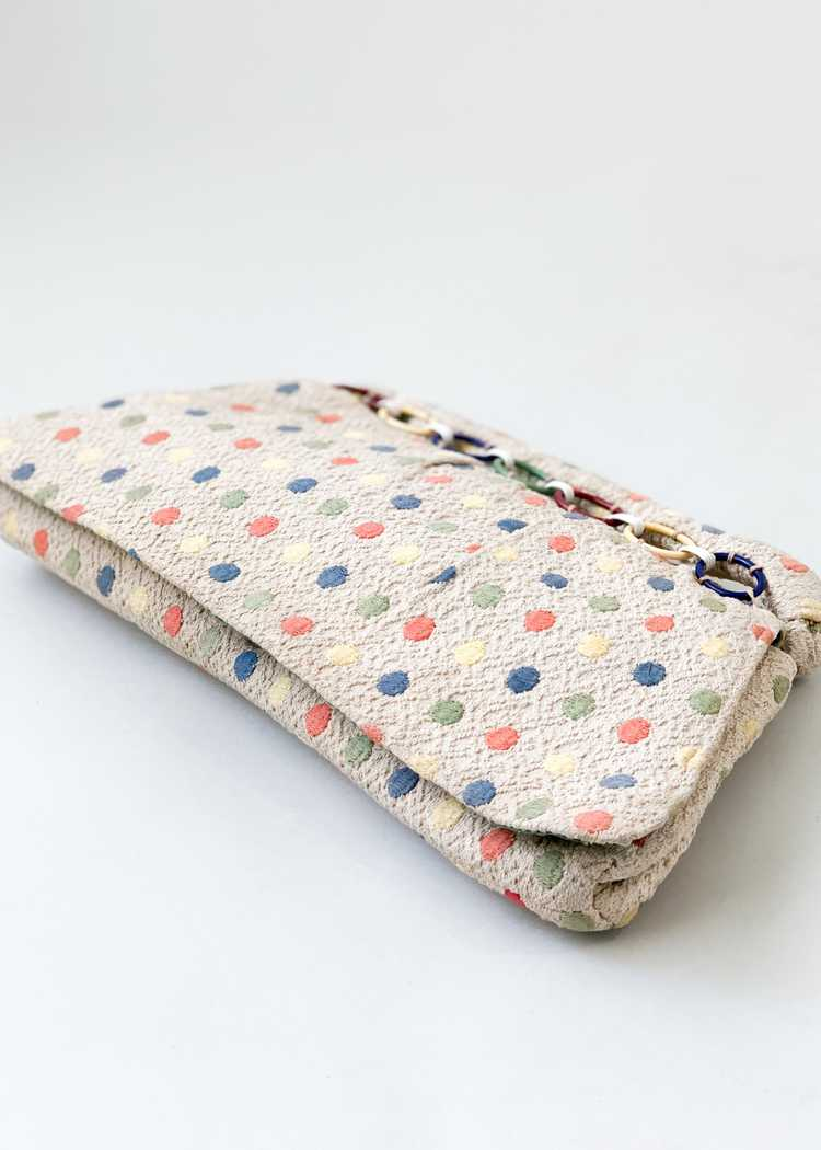 Vintage 1940s Fabric Clutch with Celluloid Rings - image 5