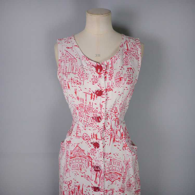 40s RED WHITE NOVELTY DRESS AND BOLERO IN PARISIA… - image 6