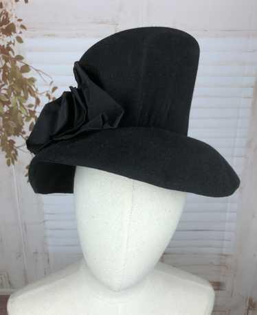 Exquisite Tall Black Original 1930s 30s Brimmed Fe