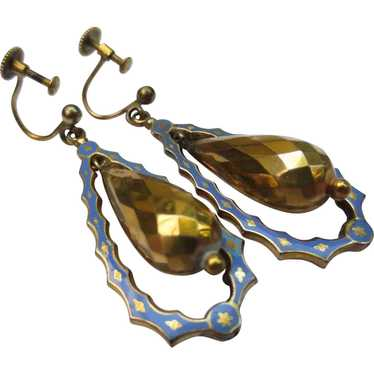 Victorian 14k Yellow Gold Enamel Faceted Drop Chan