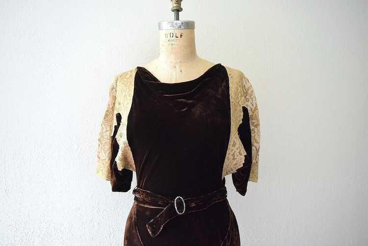 1930s velvet gown . vintage 30s bias cut dress - image 4