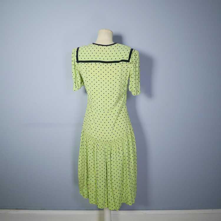 30s 40s LIME GREEN AND BLACK POLKA DOT TEA DRESS … - image 10