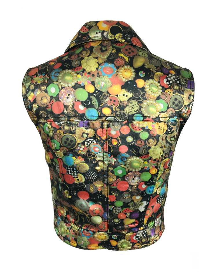 Moschino Rare 'Buttons' Print 1990s Cropped Vest … - image 2