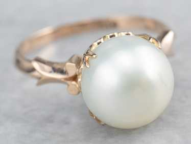 Pearl Rose Gold Solitaire Ring - image 1