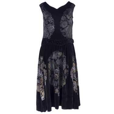 Vintage GALLENGA 20s Black Panne Velvet Dress
