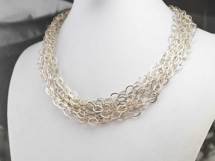 Multi Strand Sterling Silver Chain Necklace - image 7