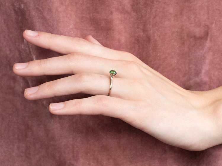 Tsavorite Garnet Gold Solitaire Ring - image 10