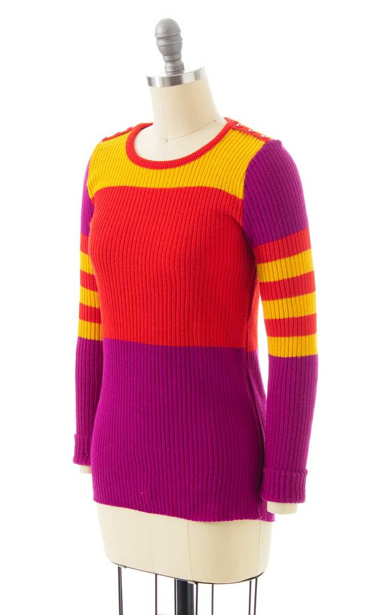 NEW ARRIVAL || 1970s Color Block Knit Sweater | x… - image 3