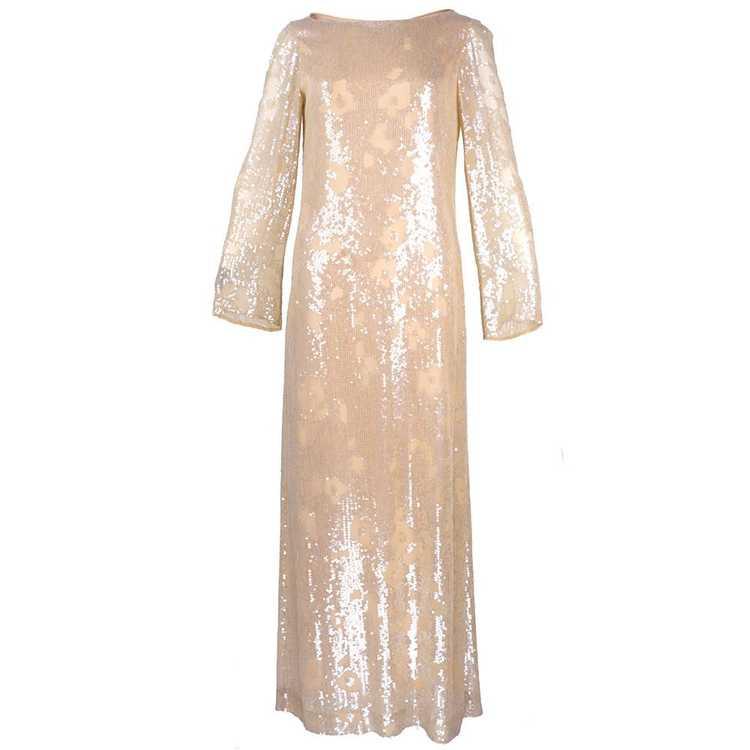 Vintage HALSTON 80s Nude Sheath Gown - image 1