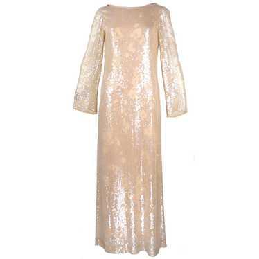 Vintage HALSTON 80s Nude Sheath Gown