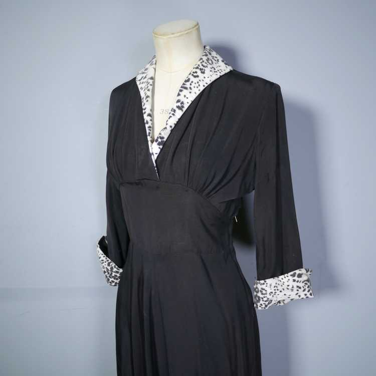 "40s 50s BLACK RAYON ""BICKLER"" DRESS WITH LEOPARD … - image 8"