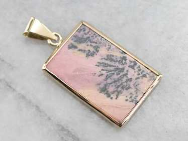 Bezel Set Rhodonite Gold Rectangle Pendant