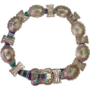 Navajo Concho Belt Silver Turquoise