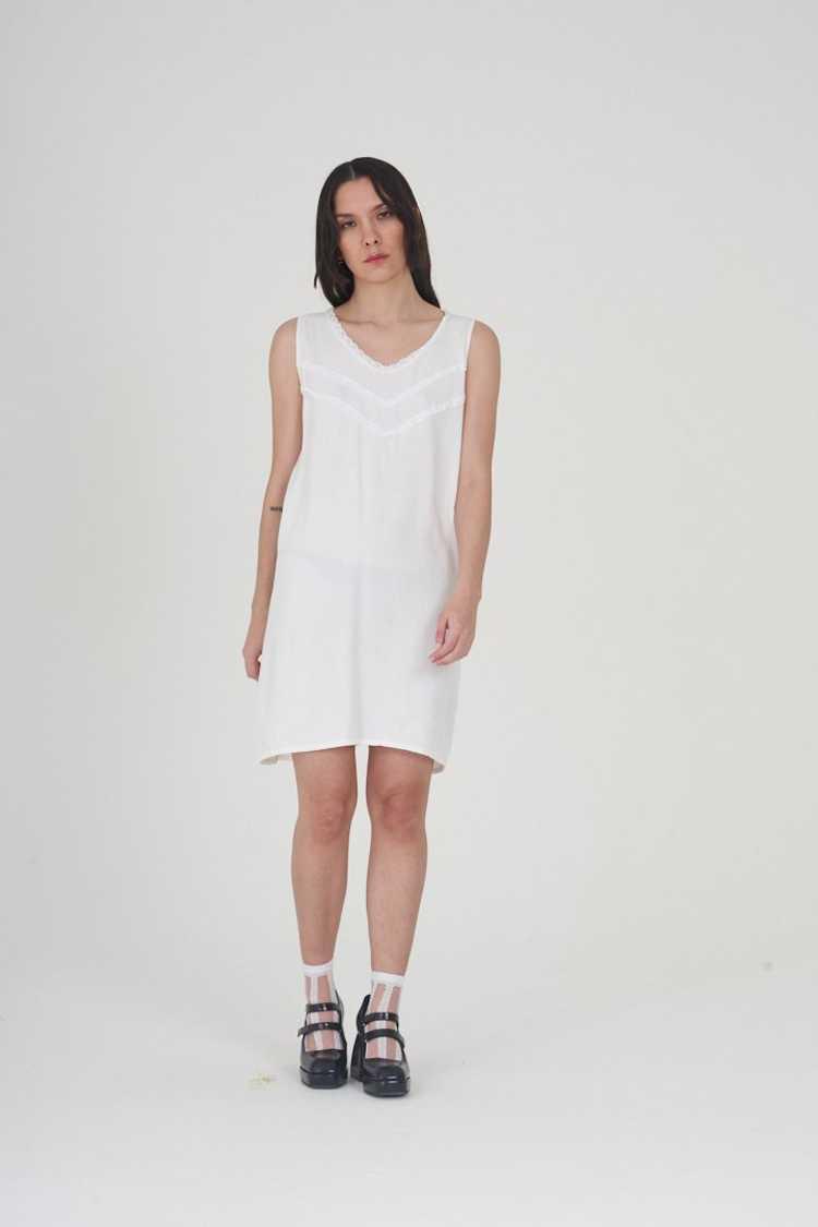 Vintage 70's White Cotton Mini Dress - image 2