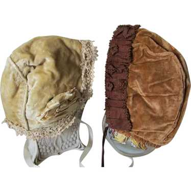Pair Antique Edwardian Velvet Girls Bonnet, Hats,