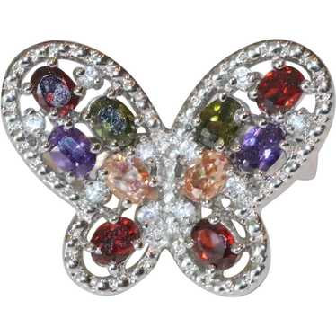 Sterling Silver Multi Colored Stone Butterfly Ring
