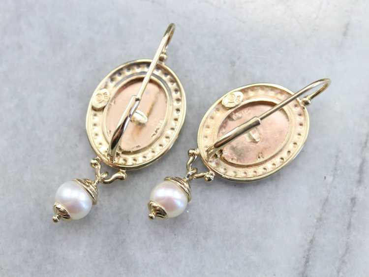 Vintage Yellow Gold and Pearl Drop Earrings - image 6